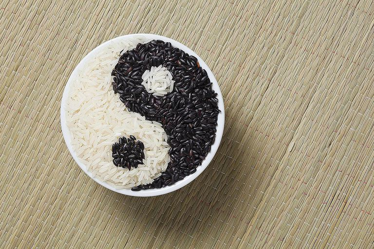 A yin and yang symbol made of black and white rice symbolizes the differing yet complimentary styles of nomothetic and idiographic approaches to sociology research.