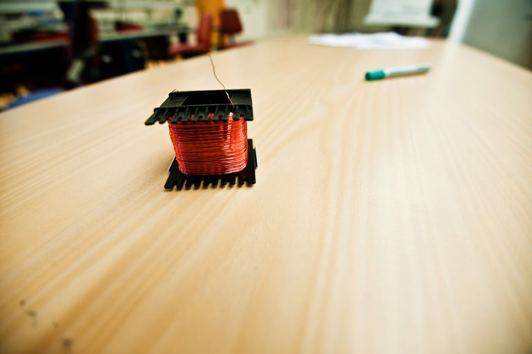 Small transformer coil on desk