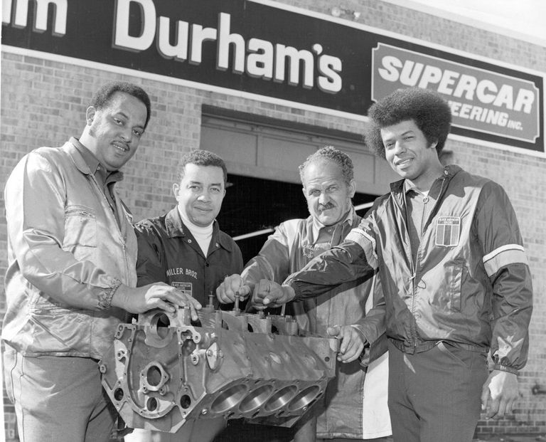 Malcolm Durham, Leonard W. Miller, Wendell Scott, and Ronald Hines (l-r) of the Black American Racers Association