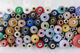 Multicolored cotton reels