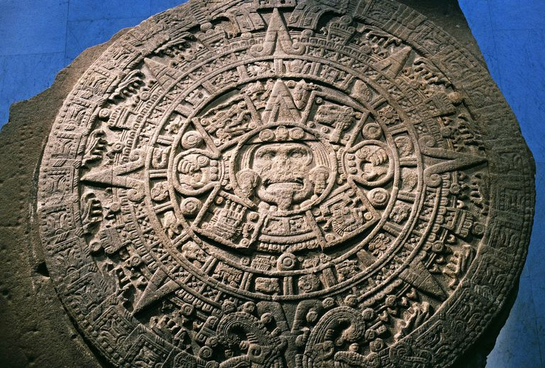 Sun Stone or Aztec Calendar Stone, found in Tenochtitlan in 1789, Mexico, Azteca Civilization, 15th century