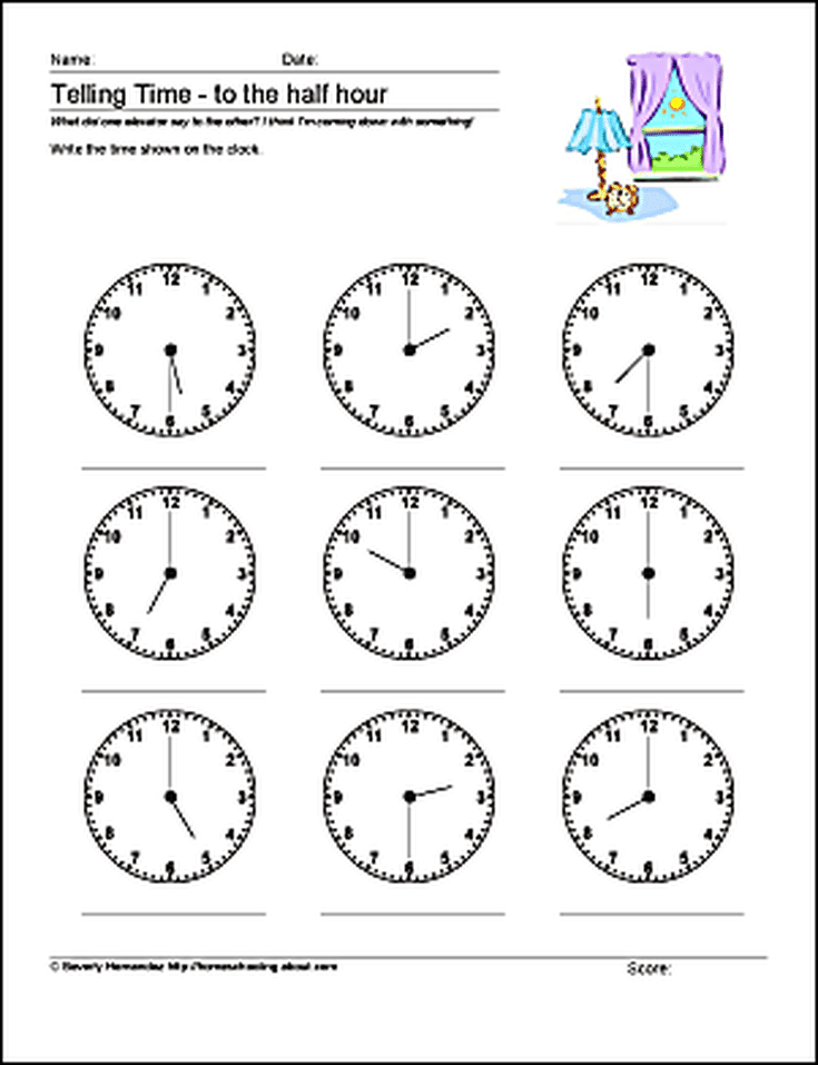 Math Worksheets Telling Time To The Half Hour