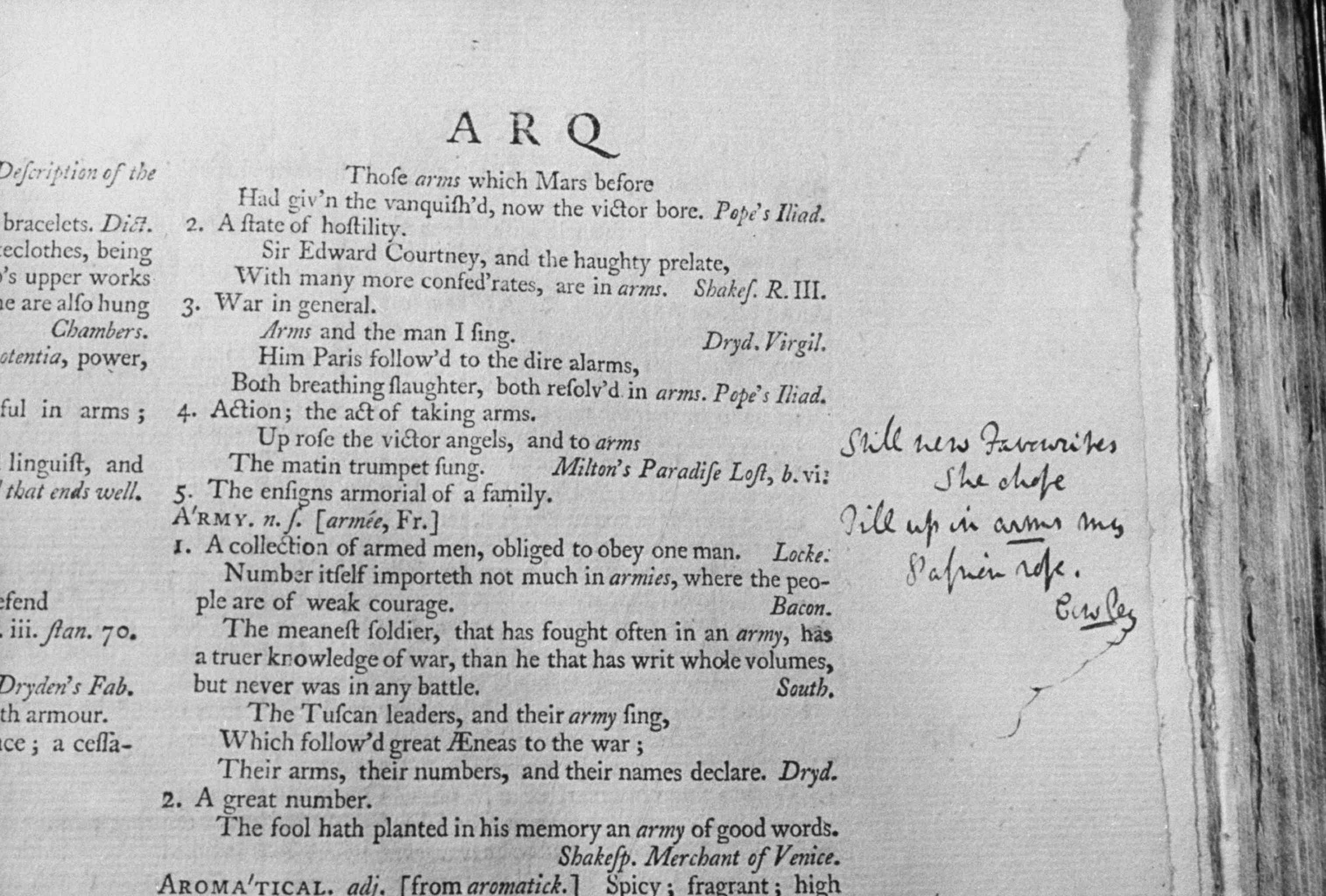 Closeup of pages from early editions of Samuel Johnson's Dictionary of English Language including handwritten notes on margins.