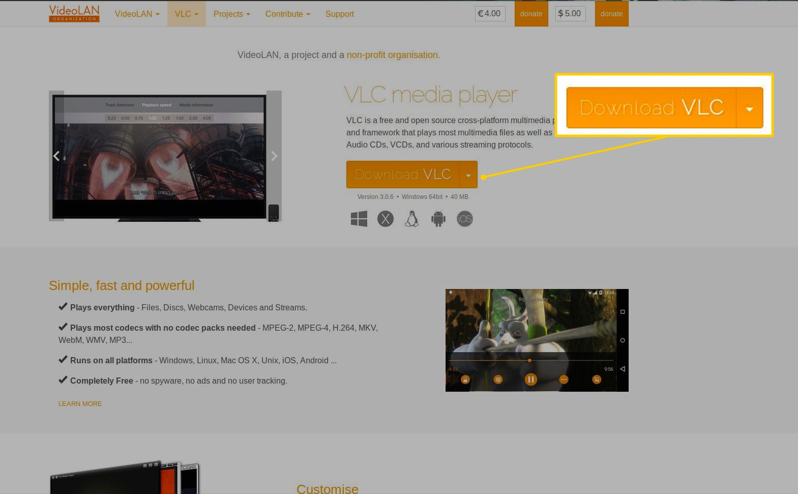 Download button on VLC website