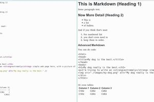 Markdown Text (at Right) Results in Formatted Output (at Left)