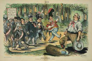 Political cartoon illustrating the coattail effect.
