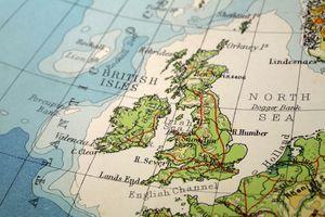 closeup on map of UK