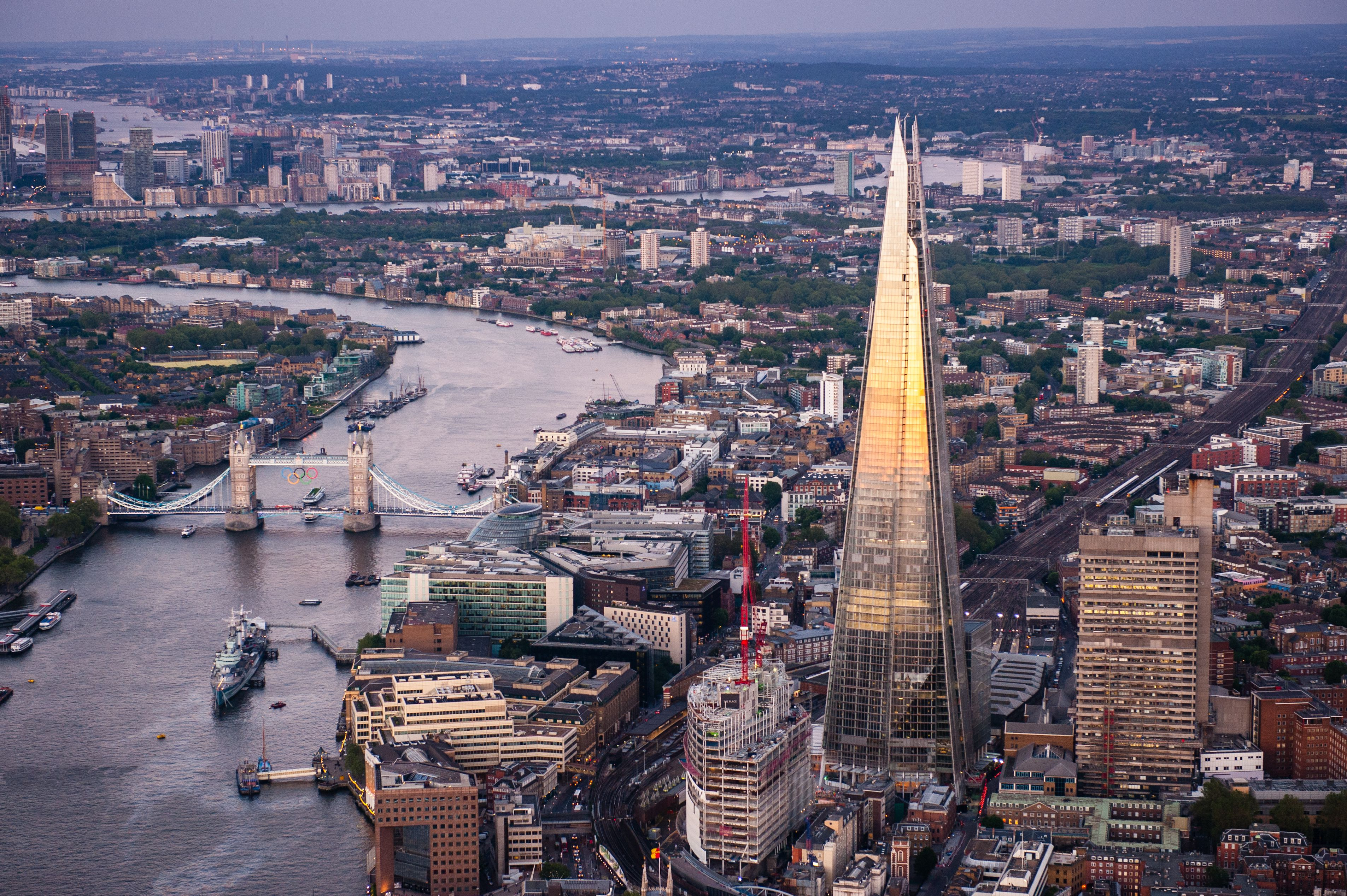 An aerial view of the Shard on June 28, 2012 in London, England. Standing at 309.6 metres high the Shard is the tallest buliding in Europe and was designed by architect Renzo Piano.
