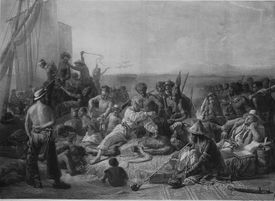 Illustration depicting the traffic of enslaved people on the coast of Africa