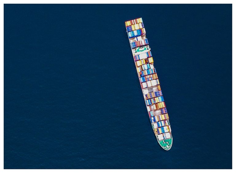 Above View Of Cargo Ship at sea