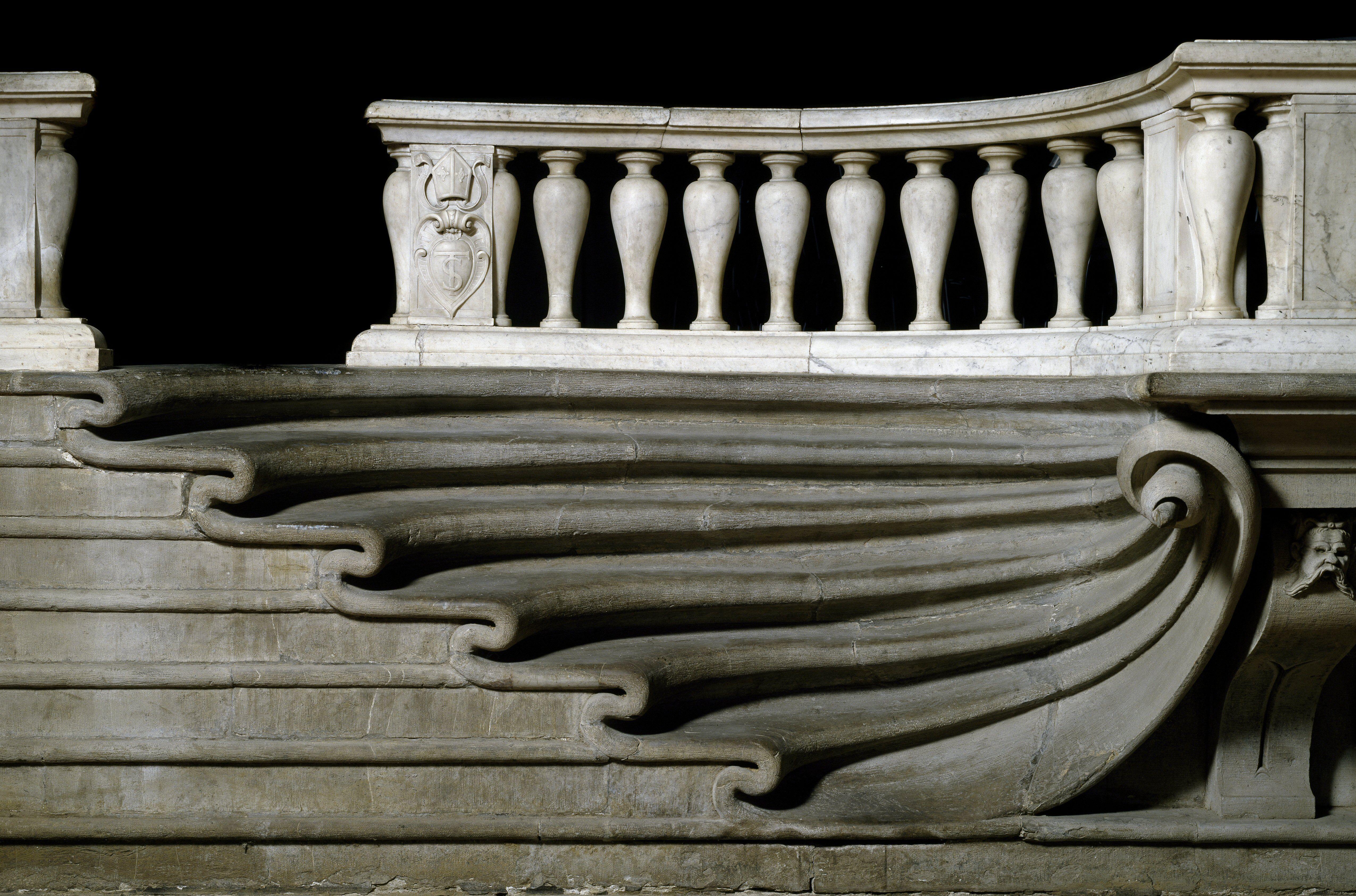 The Marble Staircase of the Presbytery by Bernardo Buontalenti for the church of Santa Trinita in Florence, Italy, 1574