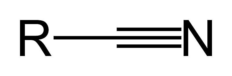 The formula for the nitrile functional group is RCN.