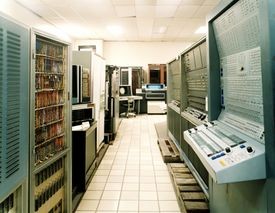 Obsolete mainframe super computers in computer museum