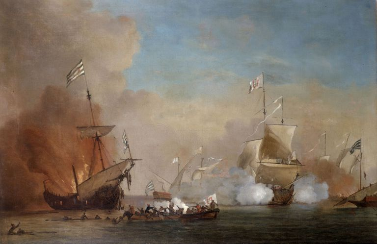 Pirates attack an English naval vessel painting