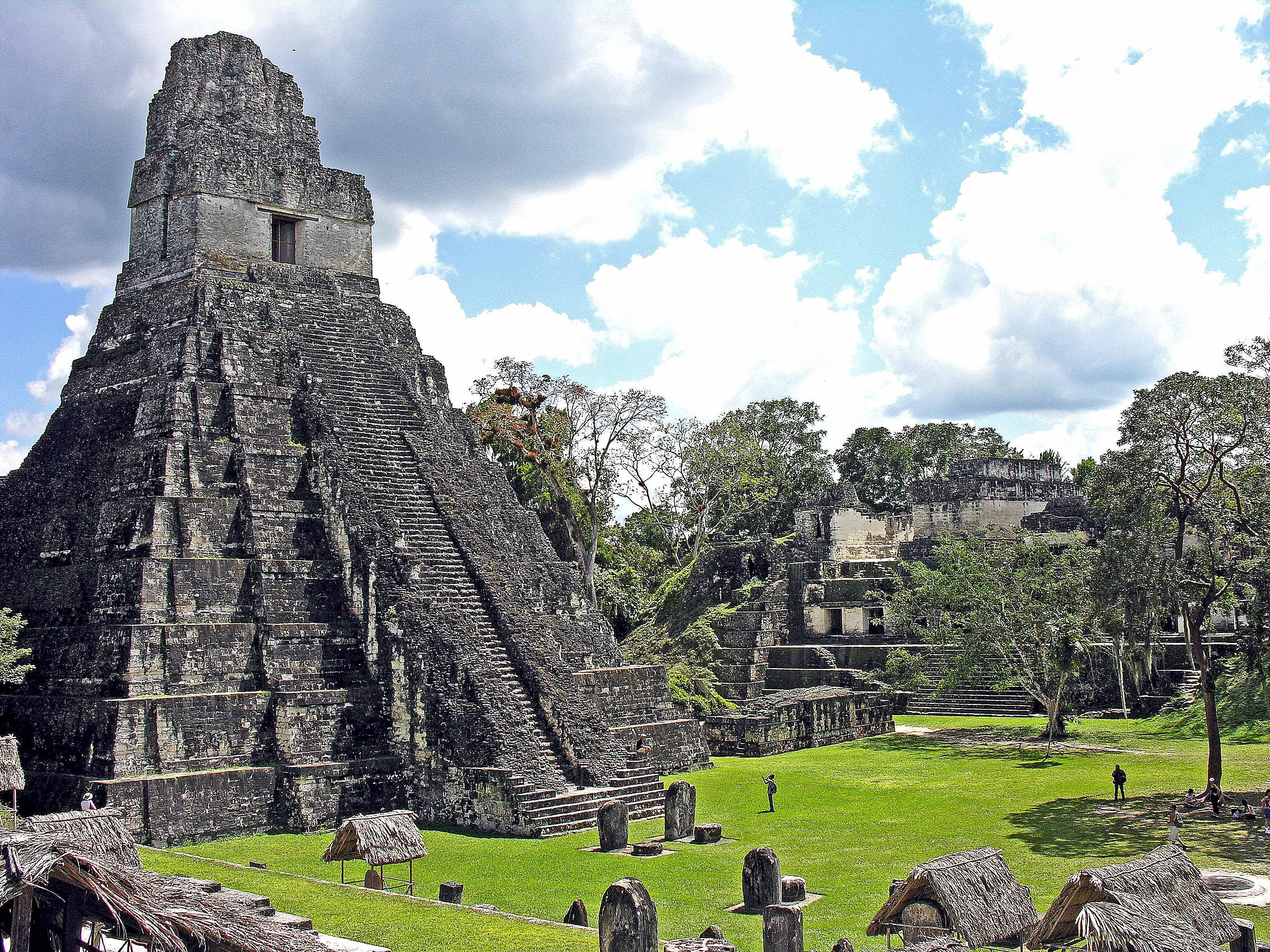 Temple of the Great Jaguar on a sunny day.