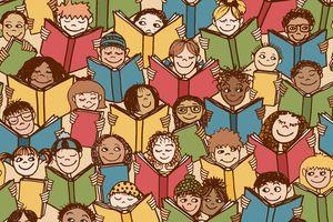 graphic of children reading books