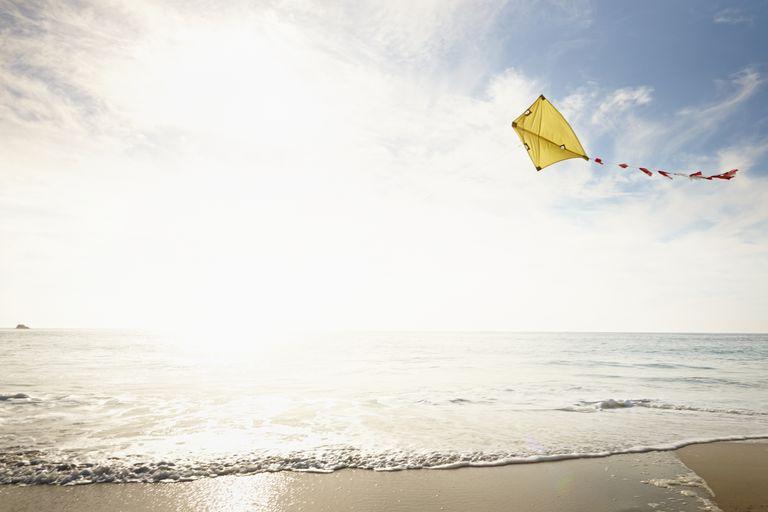 Kite flying above beach