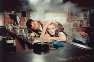 """Marilyn Monroe and Don Murray on the set of """"Bus Stop"""""""