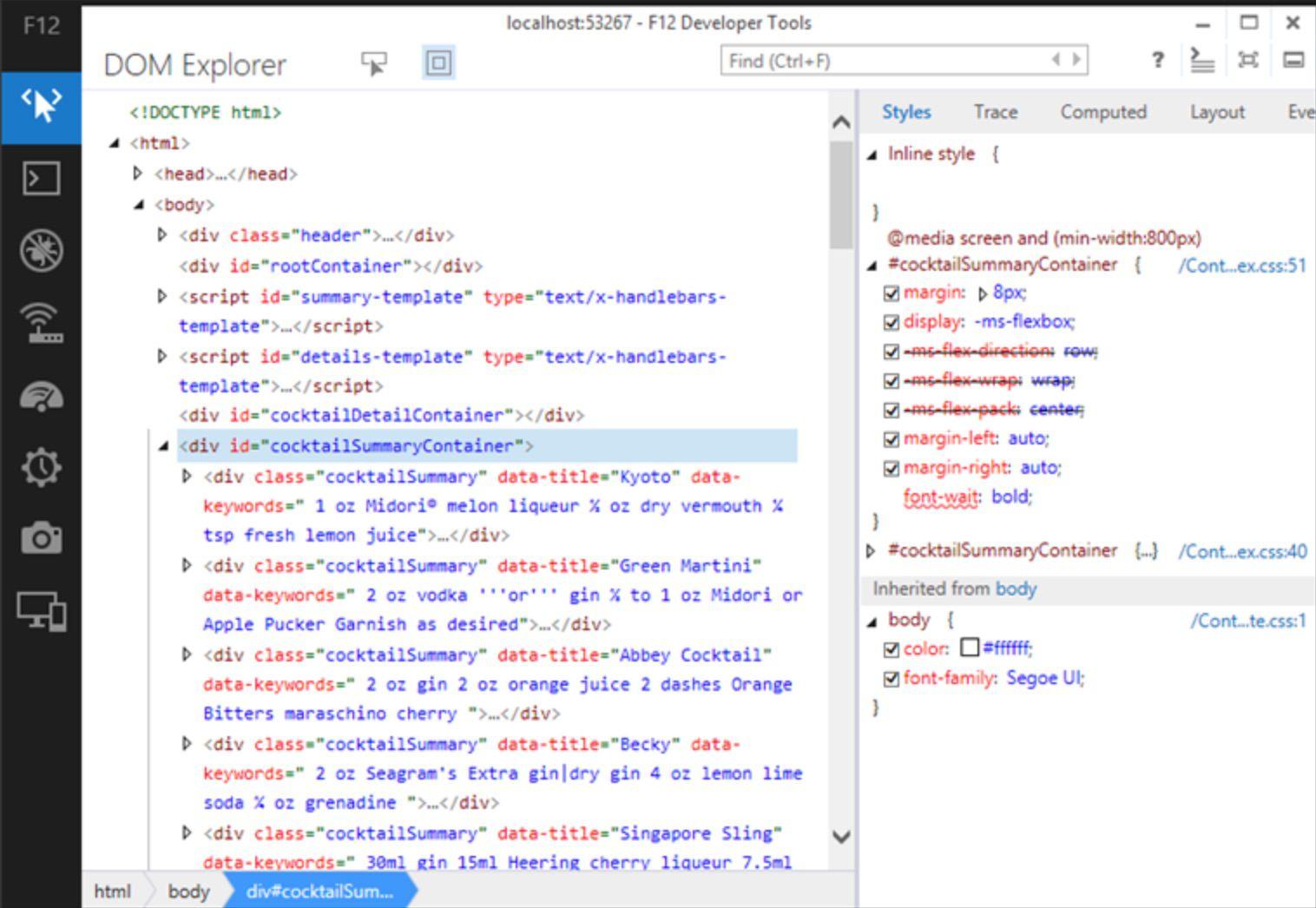 Inspect web elements in Internet Explorer