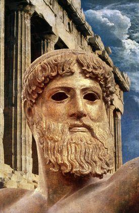 Greek God, Poseidon and the Parthenon