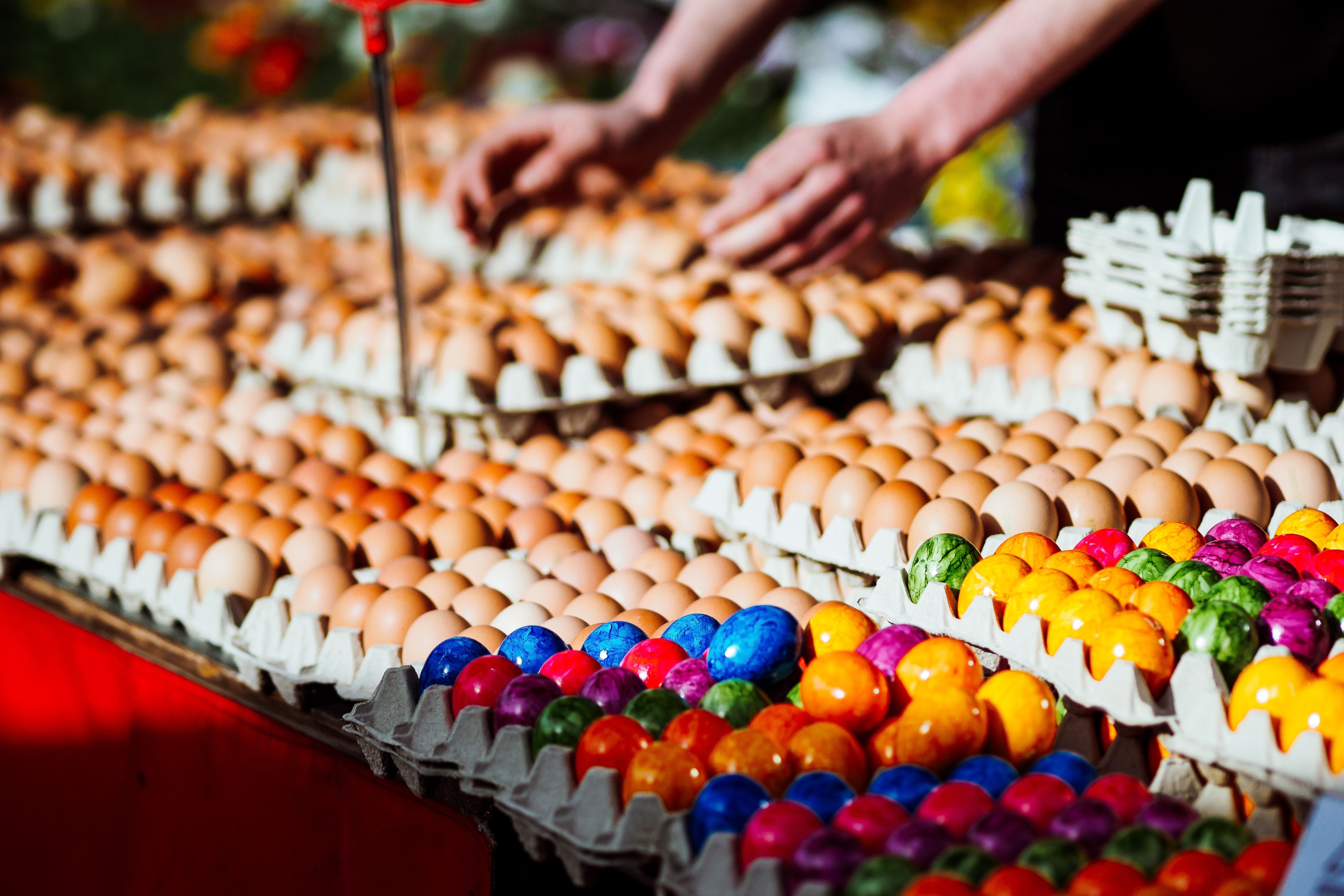 Close-Up Of Eggs At Market Stall