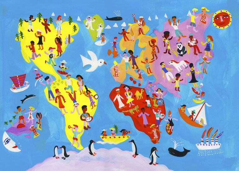 Illustrated world map of people having fun