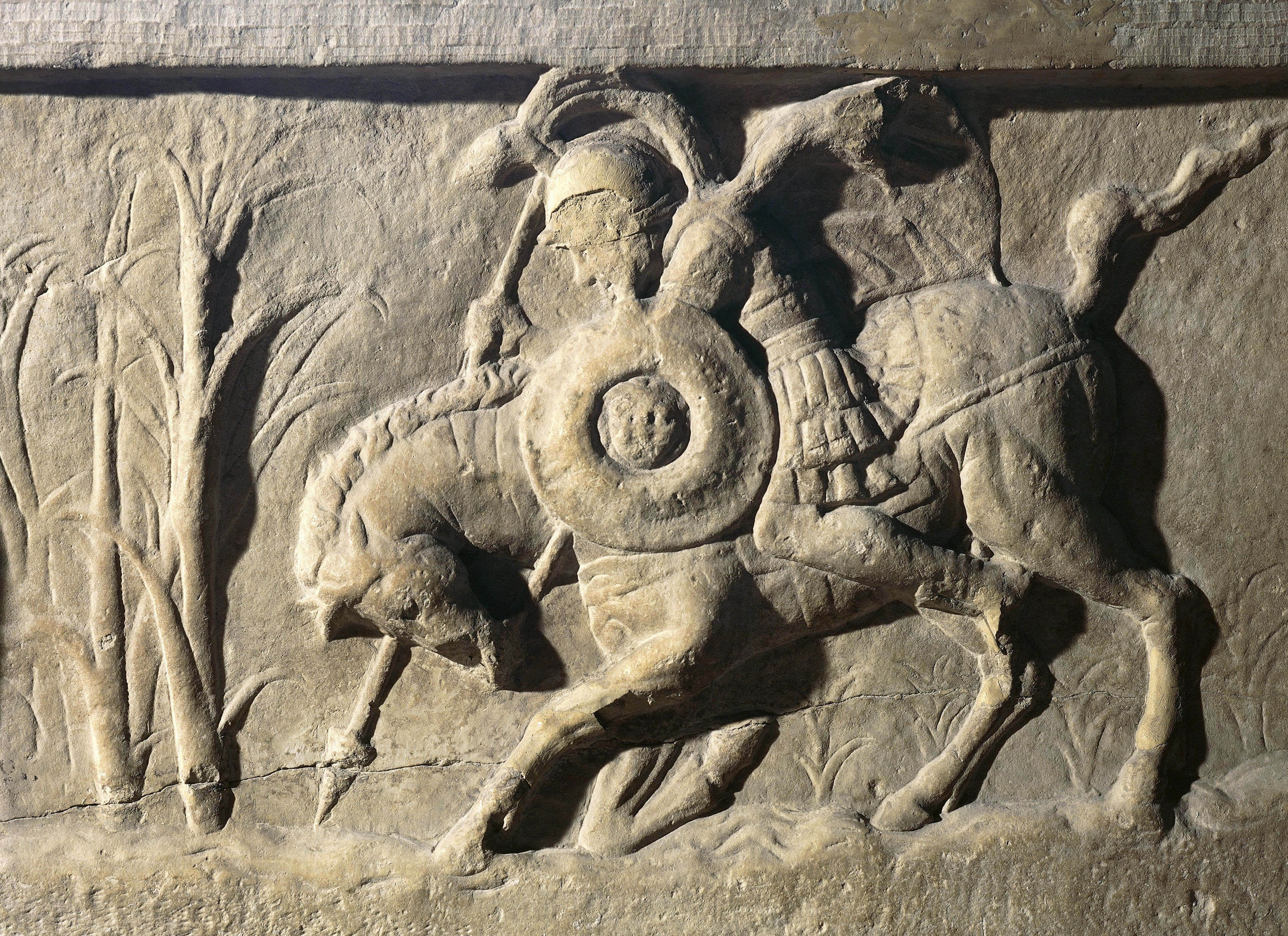 Roman civilization, Relief with Marcus Curtius on horseback leaping into chasm Lacus Curtius