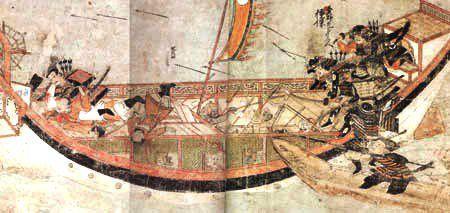 Samurai warriors attacking a Mongol Ship at Hakata Bay, 1281