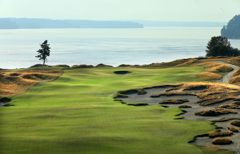 Chambers Bay golf course, a US Open course, looking down the fifth hole.