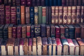 Close up of old, antique, books