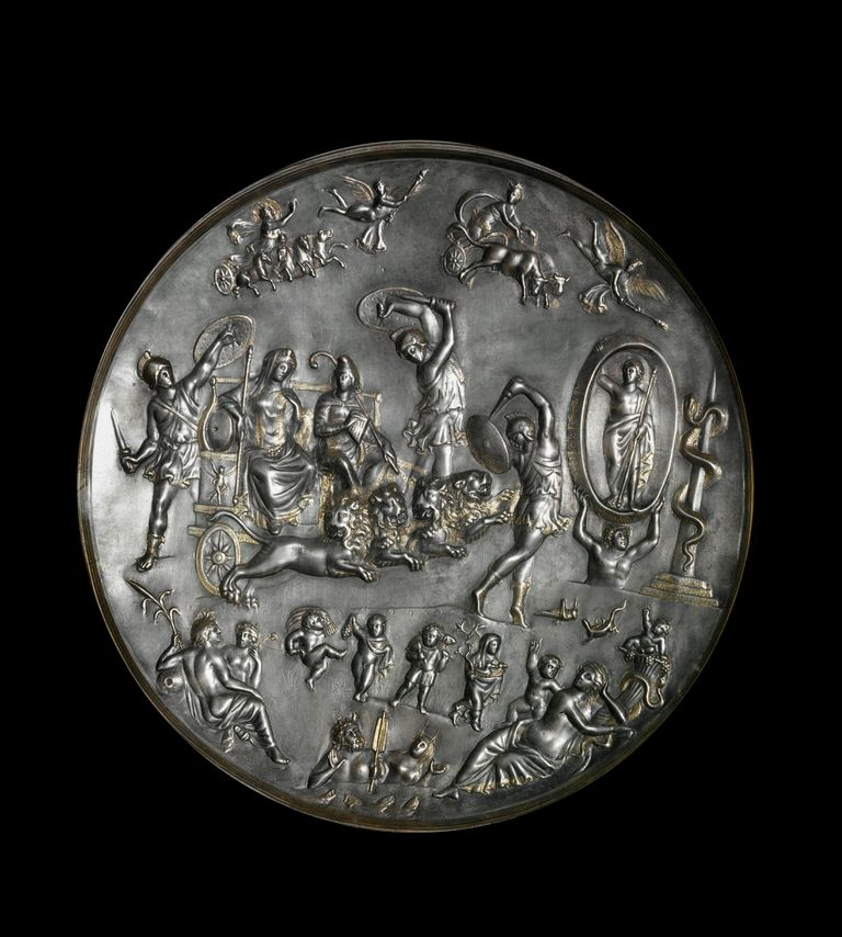 A ritual plate depicting the triumph of Attis and Cybele.