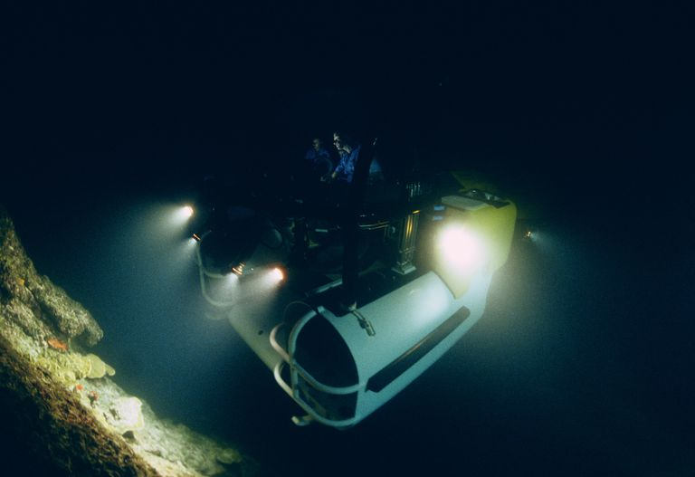DeepSee deep diving submersible in dark with lights on; Cocos Island, Costa Rica - Pacific Ocean