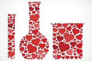 Chemistry Lab Materials Red Hearts Love Pattern