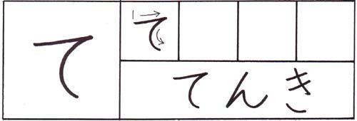 how to write the hiragana te character