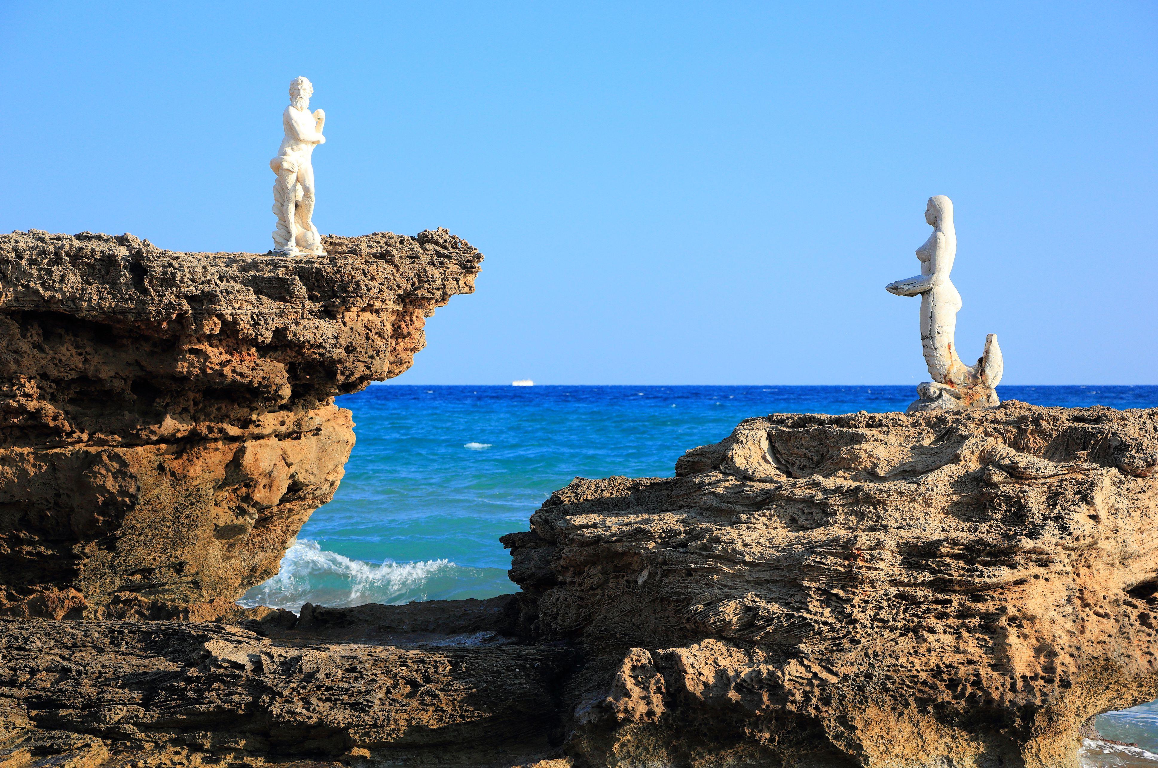 Poseidon and Mermaid. North-East coast of Zakynthos or Zante island, Ionian Sea, Greece.