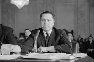 Black and white photograph of Jimmy Hoffa testifying before a Senate committee.