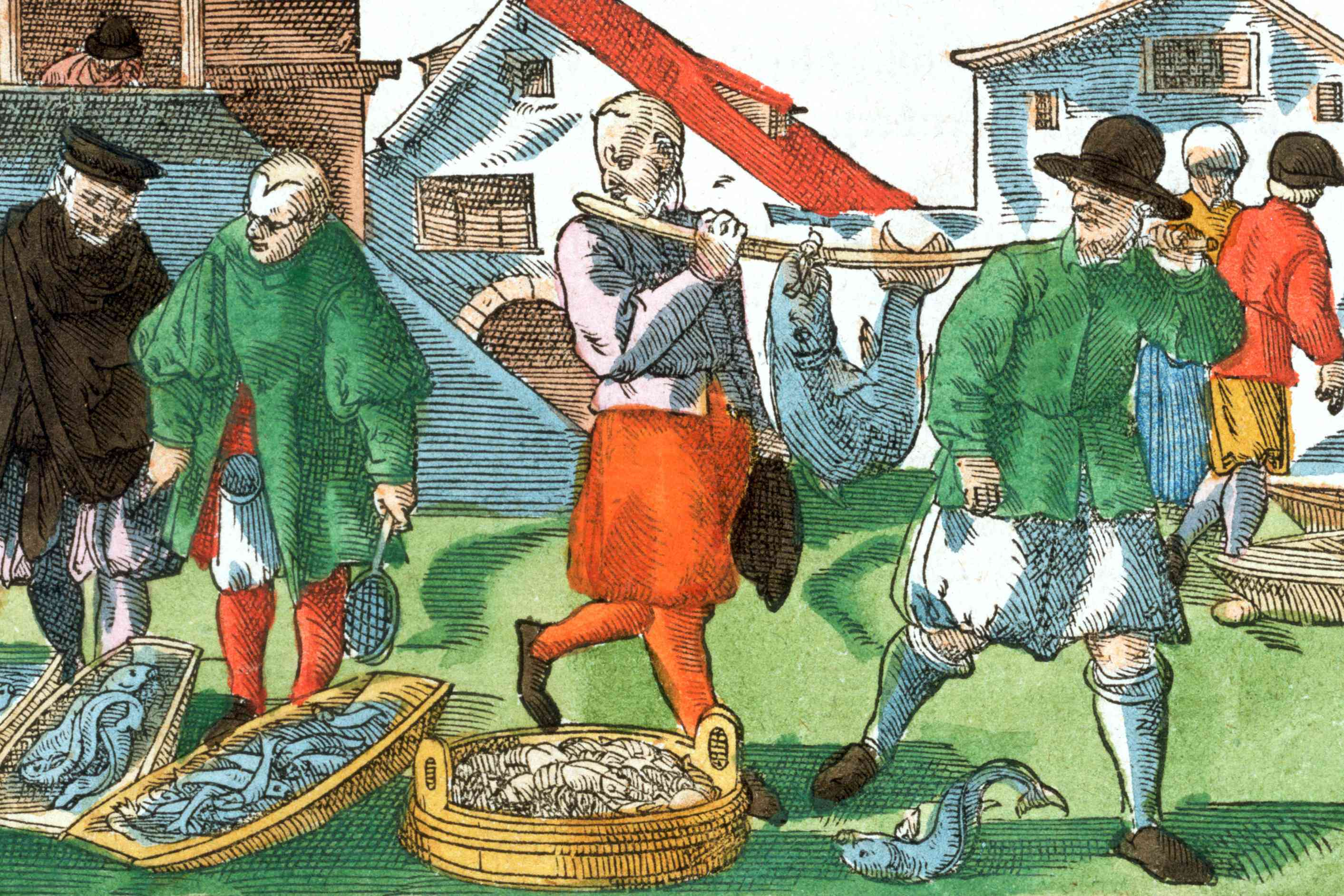 Men in breeches at a medieval fish market