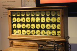 Display panel for Herman Hollerith tabulating machine for the 1890 census.