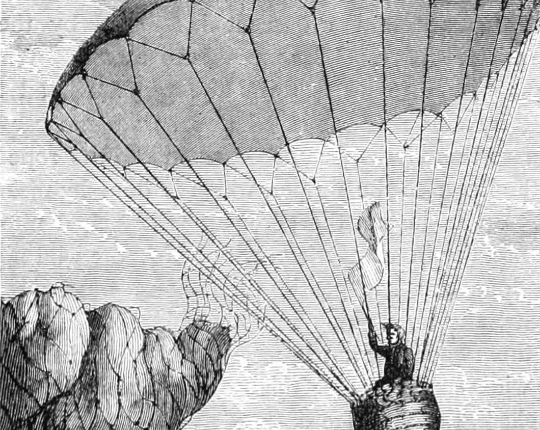 Sketch of Andrew Garnerin descending in his balloon-like parachute device.