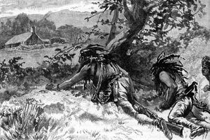 American invasion of Canada. Three First Nation Indians at war