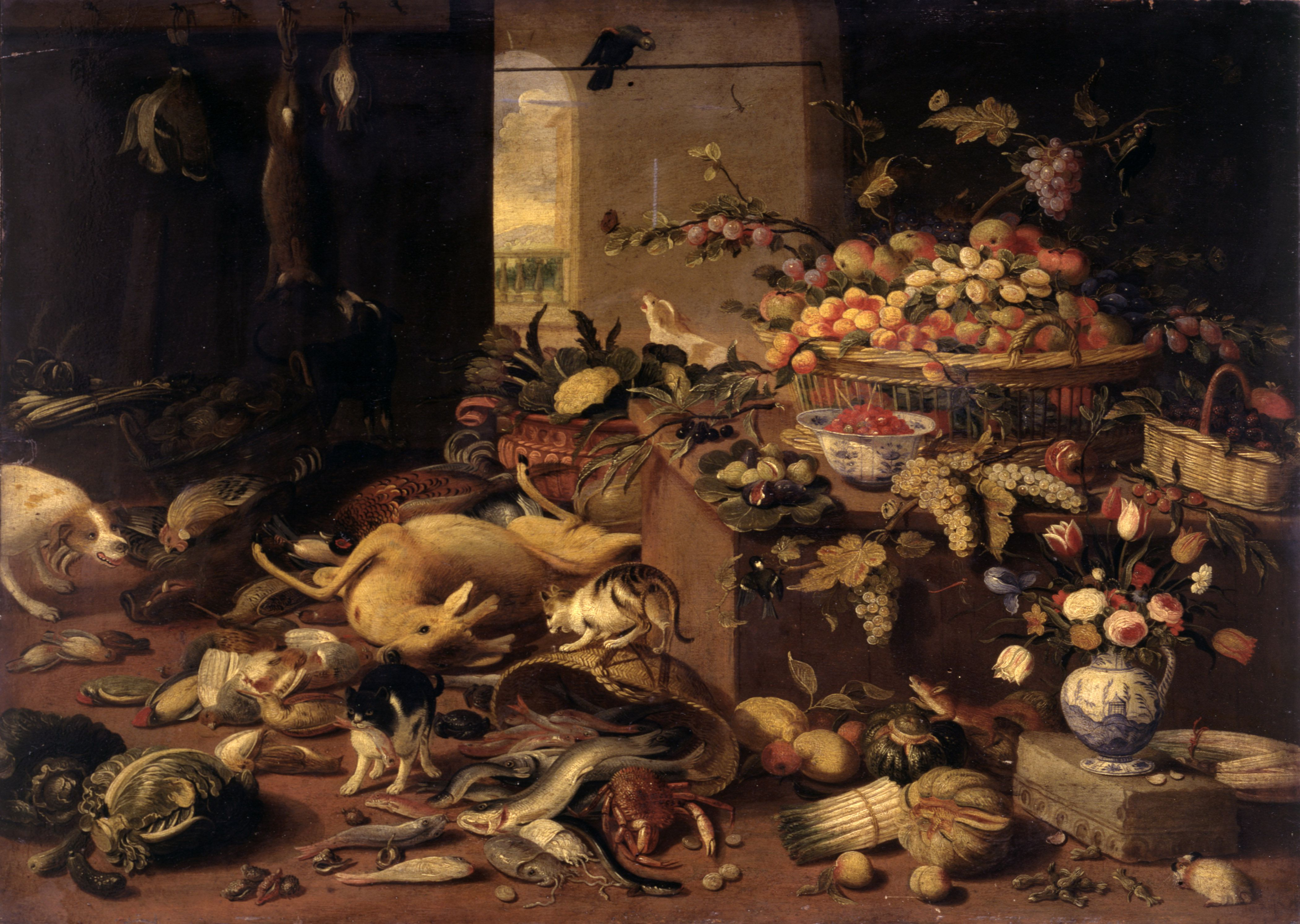 Still Life, after Jan van Kessel, 17th Century, oil on board, 37 x 52 cm