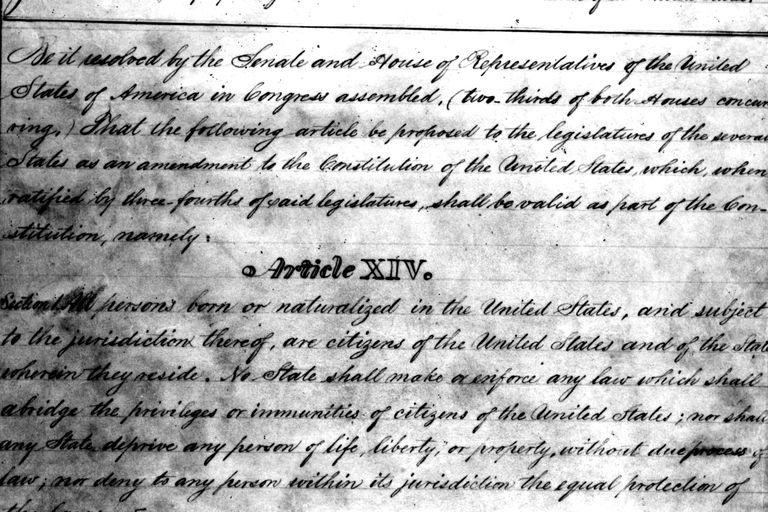 "Draft of the 14th Amendment to the US Constitution, ""Article XIV"""