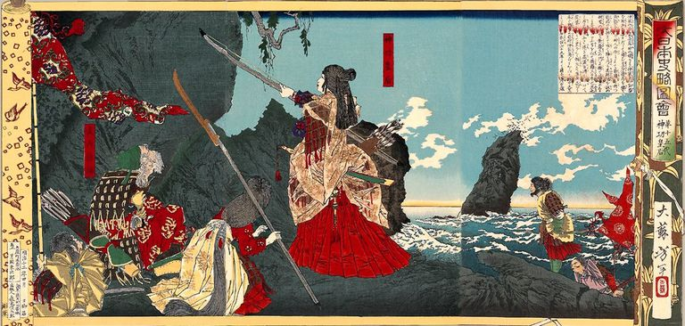 Illustration of Empress Jingu leading the invasion of Korea holding sword