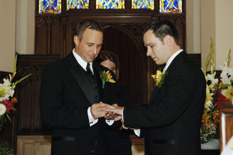 Gay Couple Exchanging Rings at Wedding, Toronto, Ontario