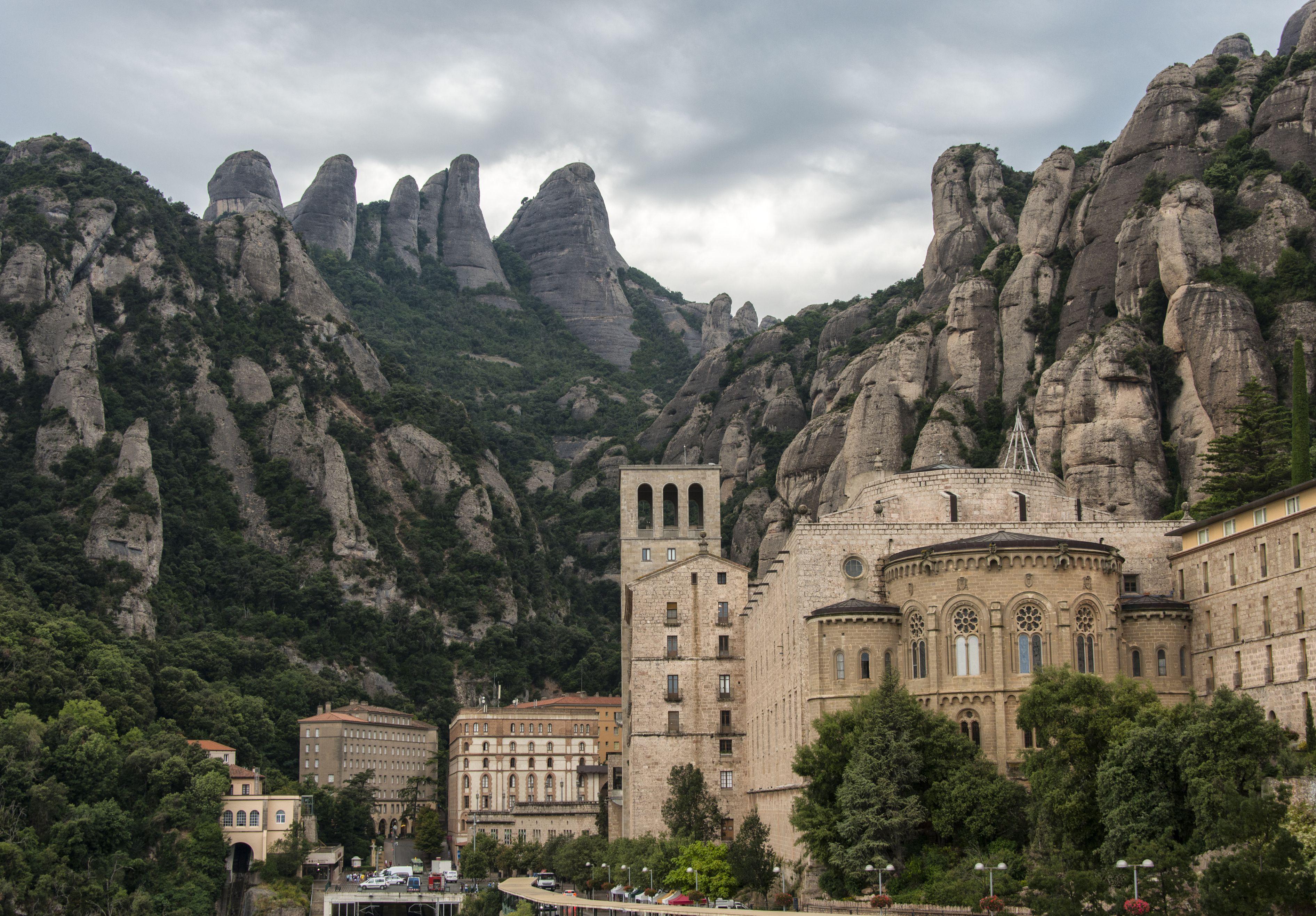Santa Maria de Montserrat Abbey, Barcelona, Spain was built from conglomerate rock.
