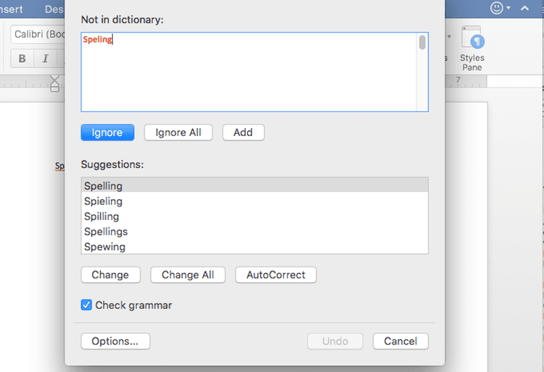 Screenshot of spell checker