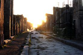 Paved Street in Pompeii at Sunrise
