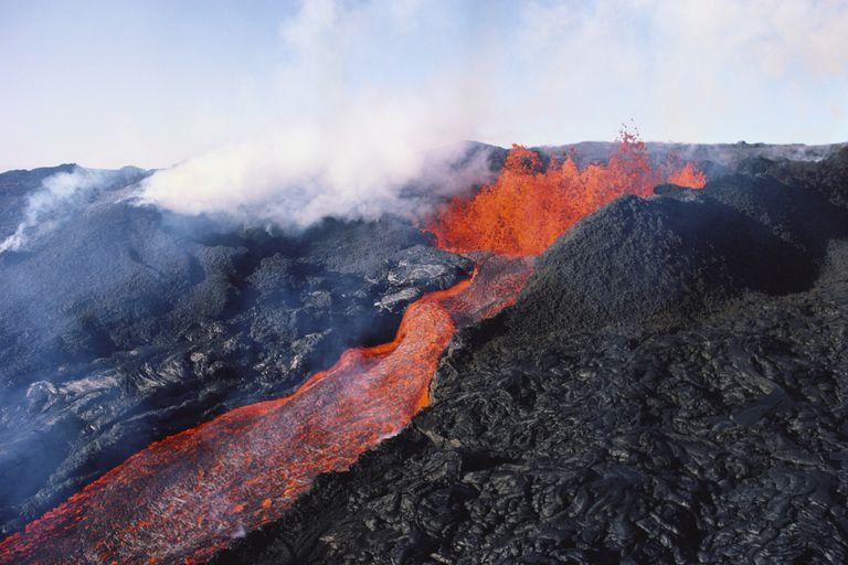 Basaltic Lava and Steam Emitted During Mauna Loa Eruption