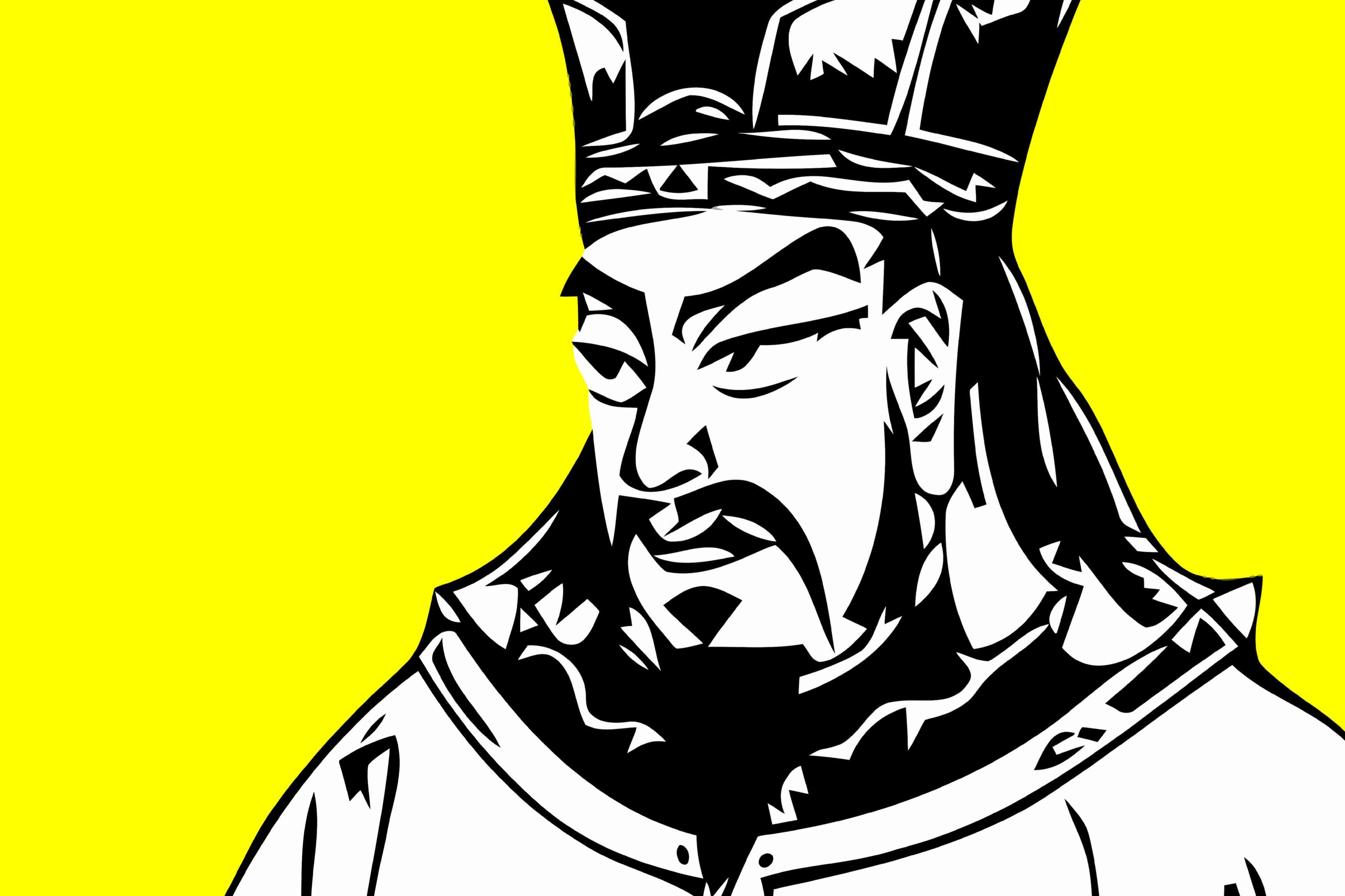 The ancient soldier Sun Tzu in a modern style with thick