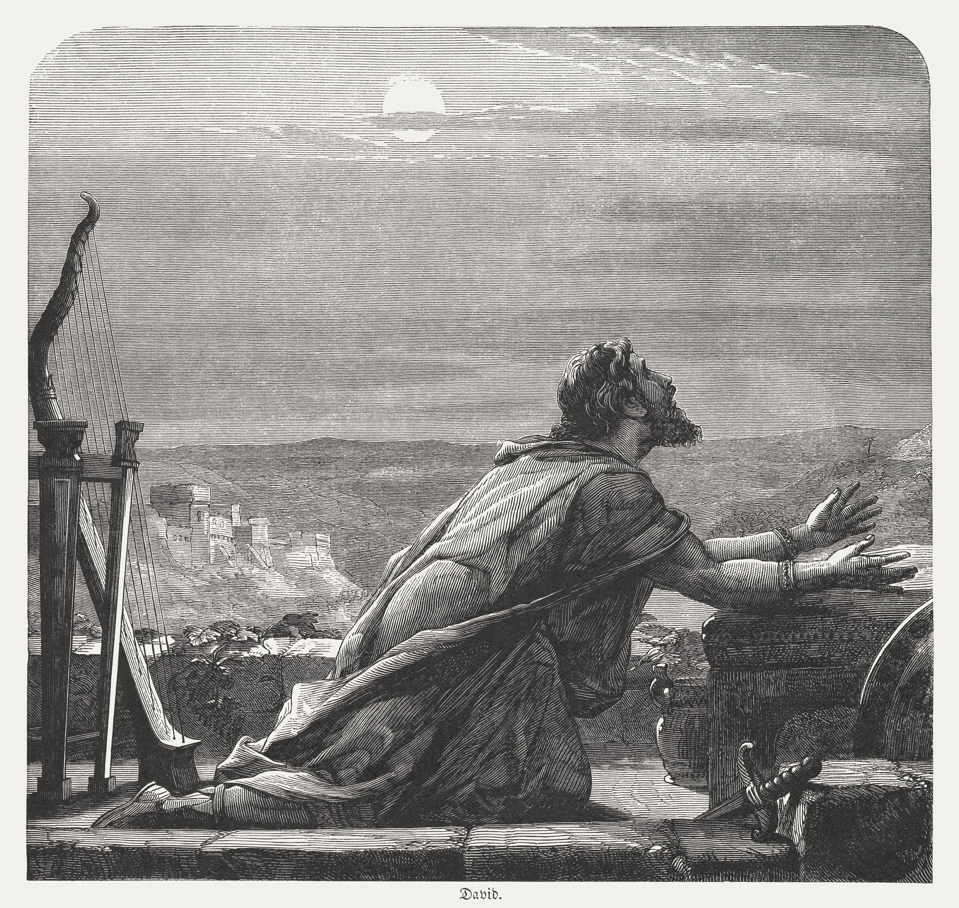 David's Prayer, wood engraving, published in 1886